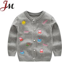 Stylish kids jacket wholesale baby girls pappa embroidery knitting sweater cardigan