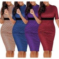 Women Print Dot Pencil Dress Summer Elegant Bodycon Knee-Length Work Office Party Wear Dresses For Women Clothing