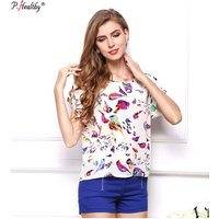 Wholesales new styles printed peter pan collar short sleeve chiffon loose top young women fancy blouse