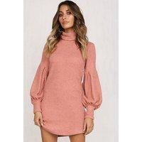 Autumn Women Casual Dresses Maxi Size Collar Dress Knitted Fashion Ladies Dress