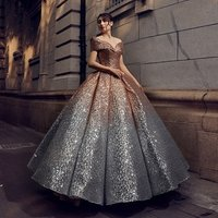 Ball Gown Sequins Colourful Stylish Silver robe de mariage Wedding Dresses for Modern Brides