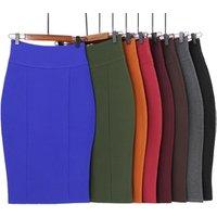 Plus Size Skirts plain blank high waist back zipper bodycon sexy pencil skirt for women