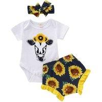RTS Baby Outfits Kids Heifer Sunflower 2pcs Clothing Set Toddler Short Sleeve Top And Ruffle Shorts Set Headband