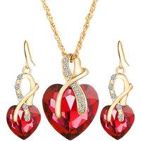 New Fashion Heart Shaped Crystal Zircon Necklace Earrings Set Women Bridal Wedding Jewelry Sets (KJ024)