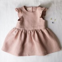 girl fashionabie solid linen baby flutter sleeve custom baby dress