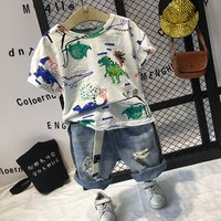 In Stock Children Clothing Boys Dinosaur Outfits 2-7years Summer Tops+Jeans Baby Boys Clothing Set