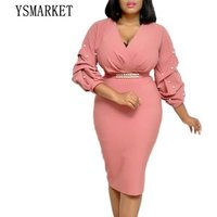 2 Color Office OL Elegant Sheath Dresses V Neck Sexy Workwear Beading Puff Sleeve Ruched Wrap Bodycon Pencil Dress EAM272
