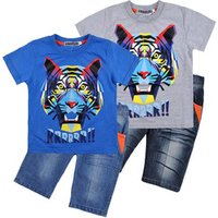 wholesale summer baby Boys casual 2piece suits Childrens clothing sets short-sleeve t-shirt + jeans pants short