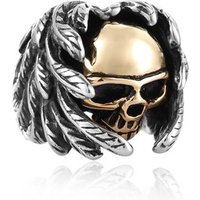 Gold silver two tone skull ring mens feather skull ring