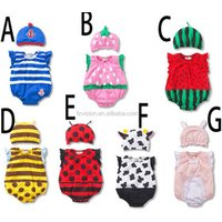 Factory supply cotton fruit type with hat summer Romper costumes for baby
