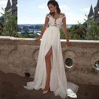 See Through Split Sexy Chiffon Beach Bridal Wedding Dresses Cheap Wholesale Lace Plus Size 2018 Pure White/Ivory Bridal Gowns
