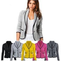 Ecowalson Plus Size S-6XL Fashion Womens OL Business Suit Long Sleeve Casual Tops Short  Blazer Jacket Slim Coat Outwear