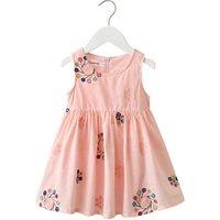 kids girls cotton skirt, Korean girls one piece dress, pink vintage flower girls dress