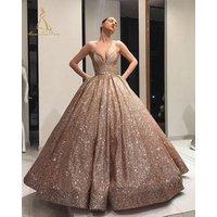 Ball Good Quality Gold Sequin Dress Sexy Long Goddess Funky Golden Glitter Evening Prom Gown