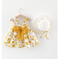 Kids clothes printing bow sling dress and bow straw hat two piece set for baby girls