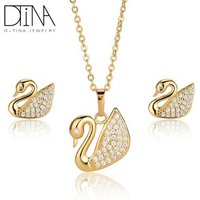 DTINA ES-0301 2019 White Swan Pendant Womens Jewelry Set Necklace Earring Set