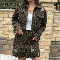 High quality leopard print ripped girl short mini sexy wrap denim jeans skirt with jacket match