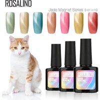 Rosalind custom logo nail art supplies jade color cat eye lacquer semi permanent uv cat eye gel nail polish for wholesale