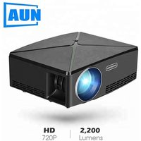 AUN MINI Projector C80, 1280x720 Resolution, LED Proyector, Portable HD Beamer for Home Cinema. Support 1080P