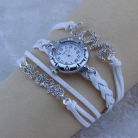 2016 Fashion Leather Bracelet with Wrist Watch Womens Chain Knitted Students Bangle Smart Bracelet Wrist Watch