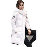fashion 2018 autumn Winter women fur collar Long hoodie Down Jacket Plus Size Long Hooded Duck Down thick Parkas