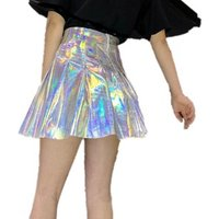 Silver Women High Waist Flare Pu Leather Pleated Skirts Sexy Club Party Mini Skirt Female Y10722