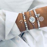 5 pcs Fashion Boho Anchor Heart Charm Bracelet Set Trendy Jewelry Women Gold Chain Tassel Bead Bracelets Set (KB8135)