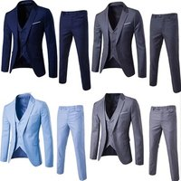 New pant coat design photo 100%wool notch lapel business suit man casual custom 2 pieces slim fit suits blue