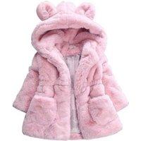 Children Girls Winter Christmas Coat Faux Fur Fleece Thicken Warm Outerwear Hooded Snowsuit Baby Kids Jacket  E9099