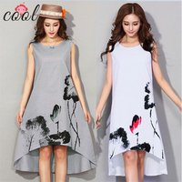 Womens ink printing dress loose large size M-6XL clothing casual sleeveless linen dress women