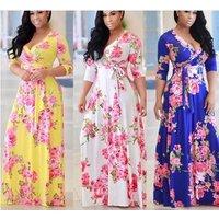 Plus size women Clothing floral print Long sleeve Maxi African Split Dress for women XXXXXL