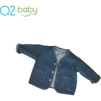 Q2-baby Oem Factory Single Breasted Baby Jeans Coat Long Sleeve Toddler Denim Jacket