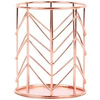 Metal Rose Gold Wire Round Wrought Iron Mesh Family Table Storage Box Pen Holder