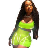 Neon green reflective stripe patchwork Crop Top biker shorts 2 piece set women tracksuit sets summer casual Y11884