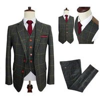 Classic Tweed Herringbone Wool Blend Men Suit 3 Pieces Check Plaid Dark Green Striped Blazer