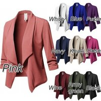 2019 New Plus Size S-5XL Women Collar Suit Jacket Coat Blazer Ladies Long Sleeve Cardigan Slim Fit Ruffle Solid Small Suit Coat