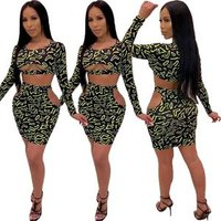 2019 Street fashion leopard print crop top and skirt two-piece set TH3316
