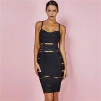 Fashion Summer Sexy Cut Out Black Rayon Bodycon Pencil Midi Bandage Dress Evening