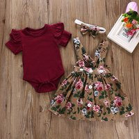 BKD hot selling kids baby girls red dress  top 2pcs set children flower clothing sets