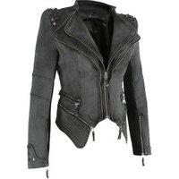 Fashion rivet punk rock jacket locomotive motorcycle zipper woman ladies jean rivet denim jacket for women