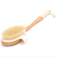 Removable Natural Boar Bristle Long Handle Body Brush For Dry Skin Brushing, Remove Dead Skin And Toxins, Scrub And Exfoliation