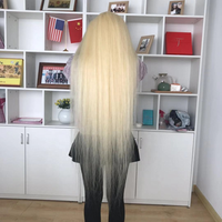 40 inch long length 100% virgin hair cheap price #613 silky straight full lace front swiss long blonde wig