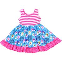 Happy Holiday Girls Clothings Sleeveless Twirl Dress For Children Baby Shark Printed Kids Smock Frocks