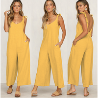 2019 Summer new Women Casual Loose Linen Cotton Jumpsuit Sleeveless Backless Playsuit Trousers Overalls