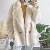 100%  Sheep fur women winter clothes chic short  jacket two length real fur oversize teddy bear coats wholesale shearling coat