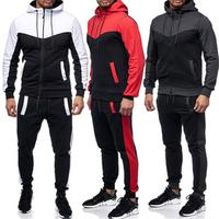 Wholesale Winter Hooded 2 Piece Plain Men Gym Sweatsuit Jogging Suit Set