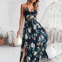 Cheap Clothing 2019 Spaghetti Strap Backless Print Dress Cross Female Boho Dresses Women Long Maxi Dress