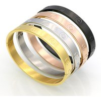 Simple Women Men 316L Stainless Steel Bangle Real Gold Plated Cross Engraved Stainless Steel Screw Bangle