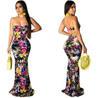 Floral Printed Strapless Bodycon Bandage Maxi Dresses Mermaid Evening Dress ZSC G0205