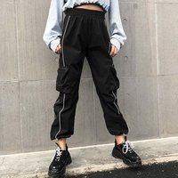 High Waist Pants Loose Joggers Women  Harem Camo Pants Streetwear Punk Black Cargo Pants Women Capris Trousers